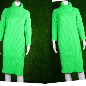 Neon green side split knit turtleneck dress